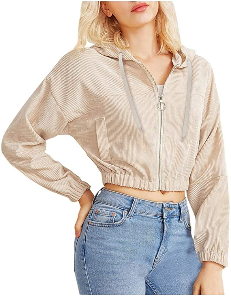 POTO Crop Sweatshirts for Women Teen Girls Long Sleeve Crop Top Solid Zip Up Hoodies Corduroy Casual Hooded Sweaters