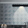 "Moroccan Mosaic & Tile House CTP02-12 Argana Handmade Cement Tile, 8"" x 8"", Grey/Bleu/White"