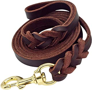 Beirui Braided Leather 6ft Dog Leash - 3/4 inch Heavy Duty Brown & Black Training Lead