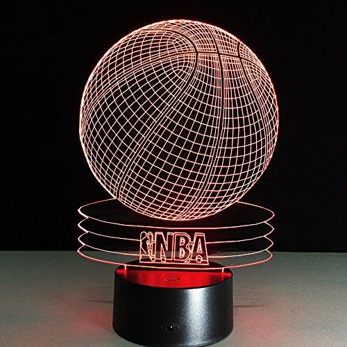 Basketball - Lámpara de mesa con iluminación óptica 3D, LED, luz nocturna, 7 colores, botón táctil, 3D, LED, NBA, cesta de bola, para niños y adultos