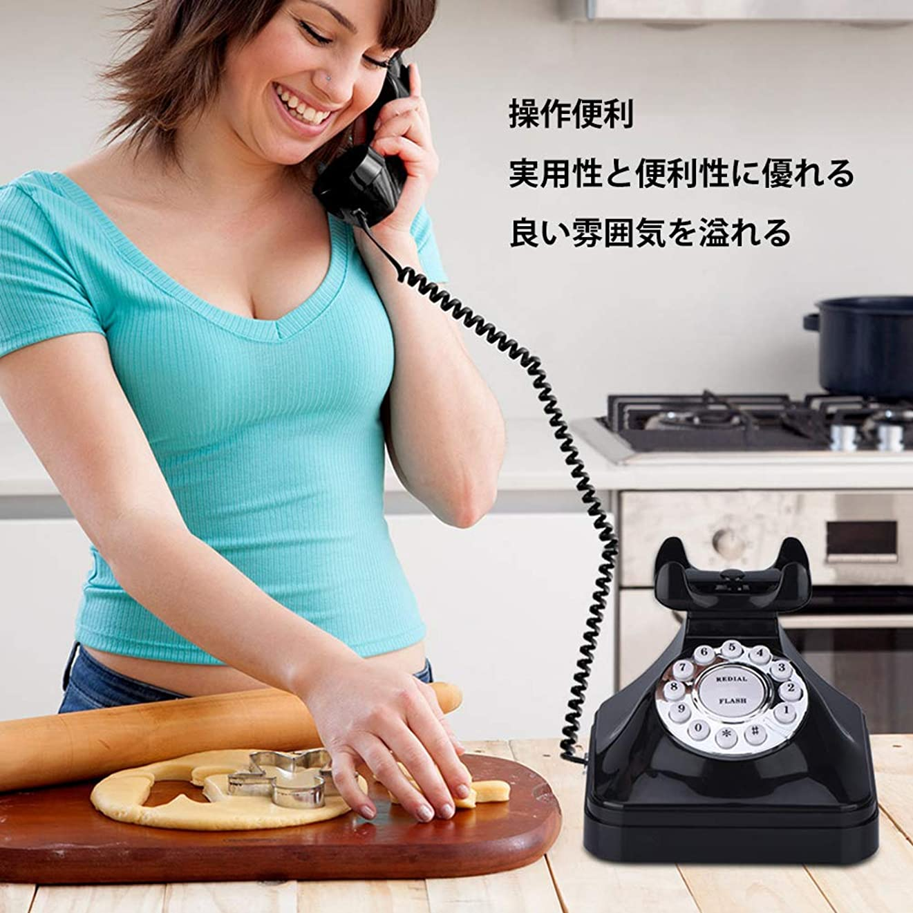 バレエ伝統未就学Acogedor 電話 レトロ電話 回転式 固定電話 多機能 オフィス ホーム 実用的 高級感な装飾品 ブラック WX - 3011