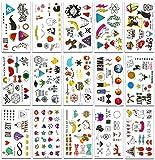 chileeany set di 15 fogli tatuaggi temporanei,impermeabile tatuaggio temporaneo 105 × 60 mm