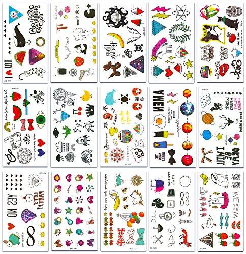 Chileeany Lot de 15 Tatouages Temporaire Tattoos Étanche 105 x 60 mm,Motifs variés (Blanc)