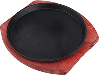Cabilock Metal Steak Plate Sizzle Griddle with Wooden Base Steak Pan Grill Server Plate Household Use or Restaurant Supply