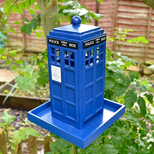 Blue Police Box Bird Seed Feeder Station