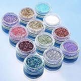 Bodhi2000, polvere glitterata,12colori, per nail art fai da te e decorazione delle unghie