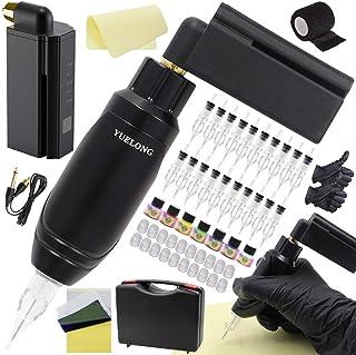 Tattoo Machine Pen Kit - Yuelong Rotary Tattoo Machine Gun with Wireless Tattoo Power Supply 20pcs Tattoo Needles Cartridg...