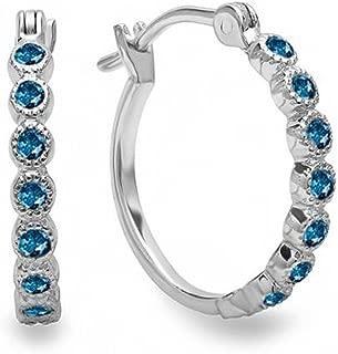 0.25 Carat (ctw) 10K Fine Dainty Hoop Earrings 1/4 CT, White Gold