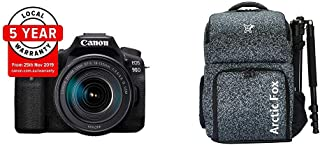 """Canon EOS 90D (EF-S18-55mm f/4-5.6 is STM) + Arctic Fox Camera Bag with Lens, 15.5"""" Laptop & Tripod Holder"""