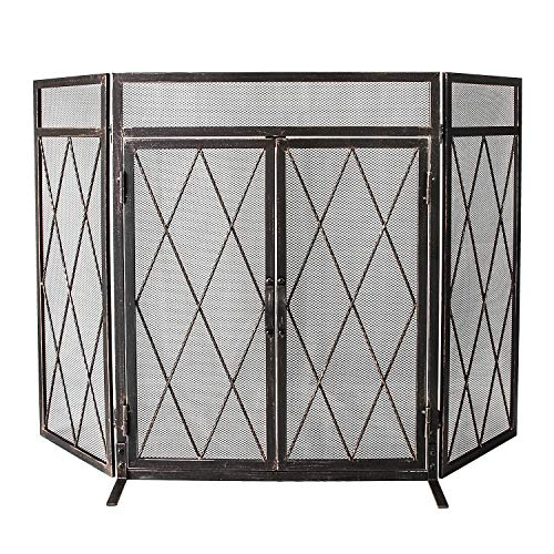 Lowest Prices! WBHome 3 Panel Wrought Iron Fireplace Screen with Doors Large Flat Guard Metal Decora...