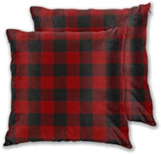 Throw Pillow Case Cushion Cover Clan MacGregor Red U Black Tartan Set of 2 Square Pillowcases Sham Home for Sofa Chair Cou...