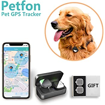 Petfon Pet GPS Tracker, No Monthly Fee, Real-Time Tracking Collar Device, APP Control for Dogs and Pets Activity Monitor with Gift