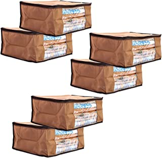 Amazon Brand - Solimo 6 Piece Non Woven Fabric Saree Cover Set with Transparent Window, Large, Brown