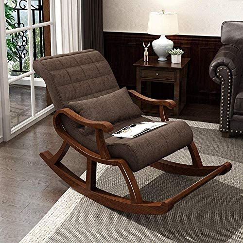 SHINE WOOD ART Rosewood Modern Ergonomic Rocking Chair (Dark Brown)