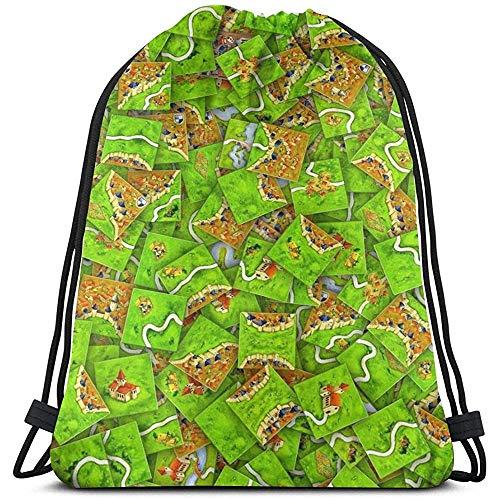 Niet van toepassing Trekkoord Tassen Carcassonne Tegels Gift Casual Print Fitness Bag Travel Cinch Tassen Trekkoord Rugzak Sport Laptop Universele School