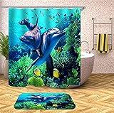 Fansu Duschvorhang Anti-Schimmel Wasserdicht Antibakteriell 3D Meeresboden, 100prozent Polyester Transparent Karikatur Vorhang für Badzimmer Digitaldruck mit 12 Duschvorhangringe (180x200cm,Delphin)