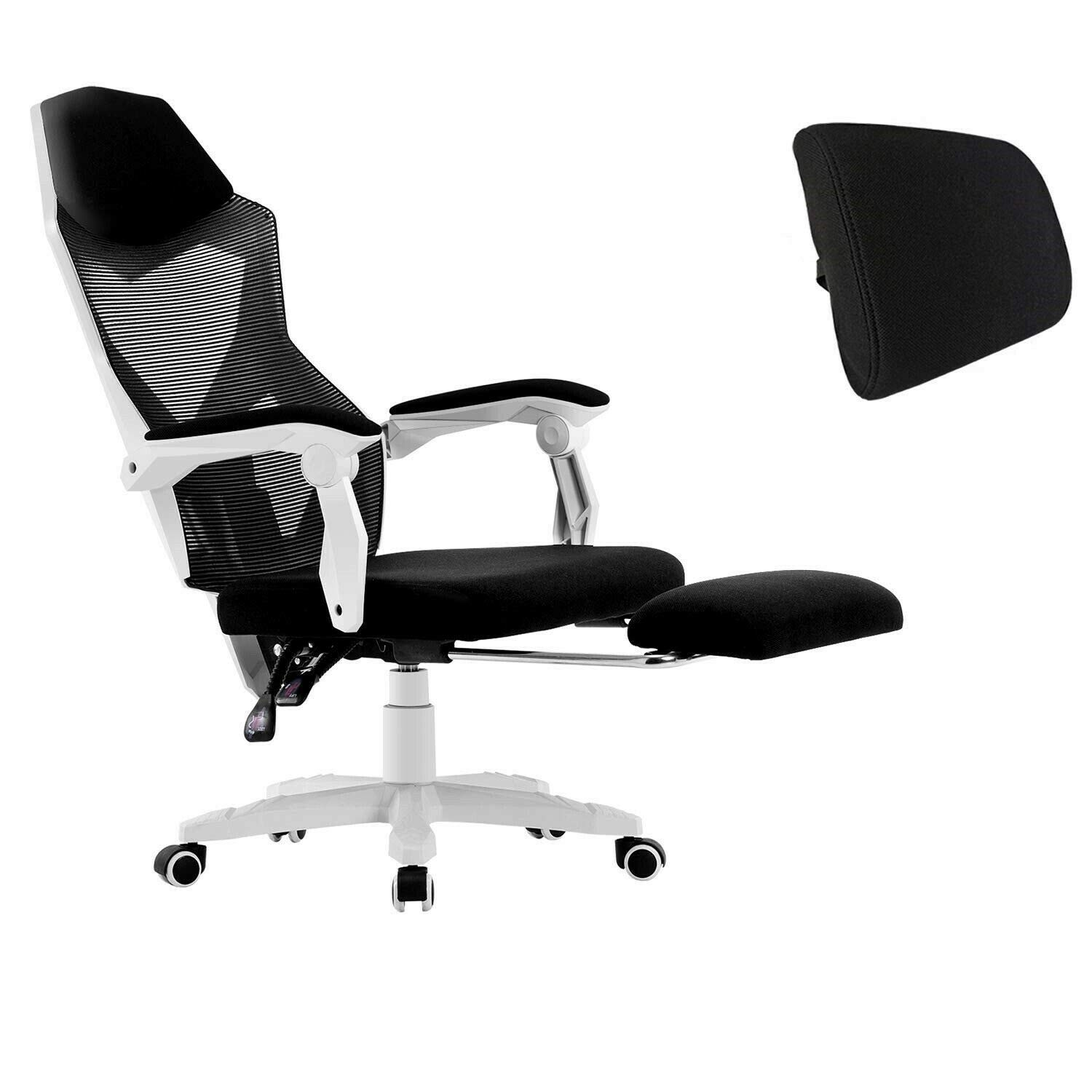 Ergonomic Office Chair High Back Adjustable Mesh Recliner Optional Footrest White2 0 With Footrest Amazon Com Au Home