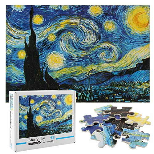 OFADD Jigsaw Puzzles 1000 Pieces for Adults The Starry Night by Vincent Van Gogh Classic Oil Painting Artwork Puzzle for Indoor Activity Challenging Family Game 27x20 Inches