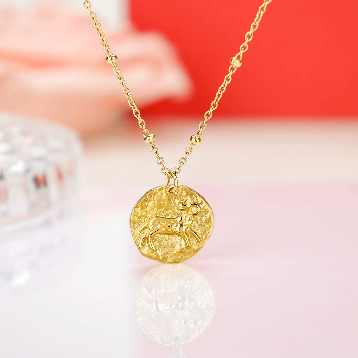 Moronly Zodiac Necklaces for Women 12 Constellation Necklace Stainless Steel Horoscope Astrology Chain Necklace 14K Gold Plated Jewelry Hypoallergenic/…