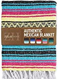 Zulay Home Authentic Mexican Blankets - Hand Woven Yoga Blanket & Outdoor Blanket - Artisanal Boho Blanket & Car Blanket for Beach, Picnic, Camping, or Home Throw Blanket (Blue Yellow)