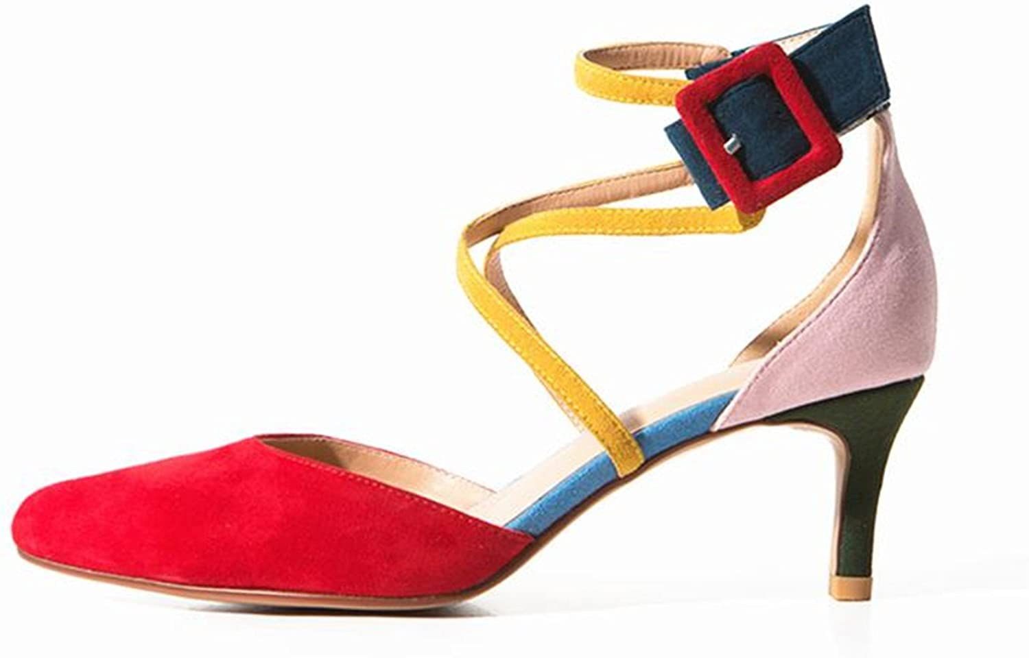 Mofgr Women Pointed Toe High Heel Mixed colors Ankle Strap Buckle Modern Pumps