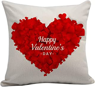 Throw Pillow Case Happy Valentine's Day Rose Sweet Love Pillow Cushion Cover Home Decor Flower Bouquet Heart Gifts Decorative Valentine Decoration(Red;Polyester)