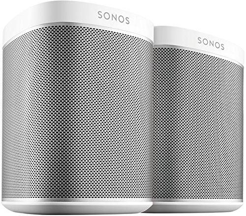 Sonos Play:1 Smart Speaker (Doppelpack Starterset, Kompakter und kraftvoller WLAN Lautsprecher für unbegrenztes Musikstreaming - Feuchtigkeitsbeständiger Multiroom Lautsprecher) weiß