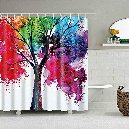 XCBN Colorful tree shower room bathroom curtain shower set fabric shower curtain and colorful blooming branches waterproof and mildew proof A1 180x180cm