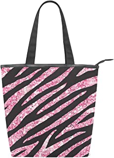 Mnsruu Große Segeltuch-Handtasche, Strandtasche, Reisetasche, Einkaufstasche, rosa Rose, Glitzer, Zebrastreifen, Sommerurlaub, Handtasche für Damen und Mädchen