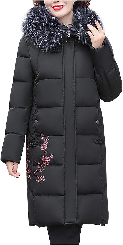 NREALY Women's Winter Plus Size Mid-Length Slim Padded Jacket Mother's Coat