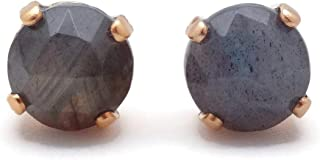 Swarovski Goldtone Stud Earrings in Round Multi Faceted Green Iridescent Mineral Stone M55