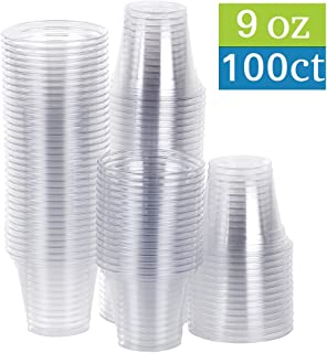 TashiBox 9 oz Disposable Plastic Party Cups, Tumblers, 100 Count, Crystal Clear
