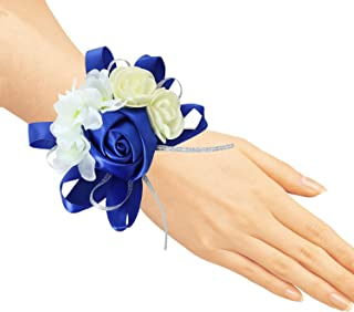 zilue Pack of 4 Wedding Girl Bridesmaid Wrist Corsage Hand Flower Party Prom Accessories RoyalBlue