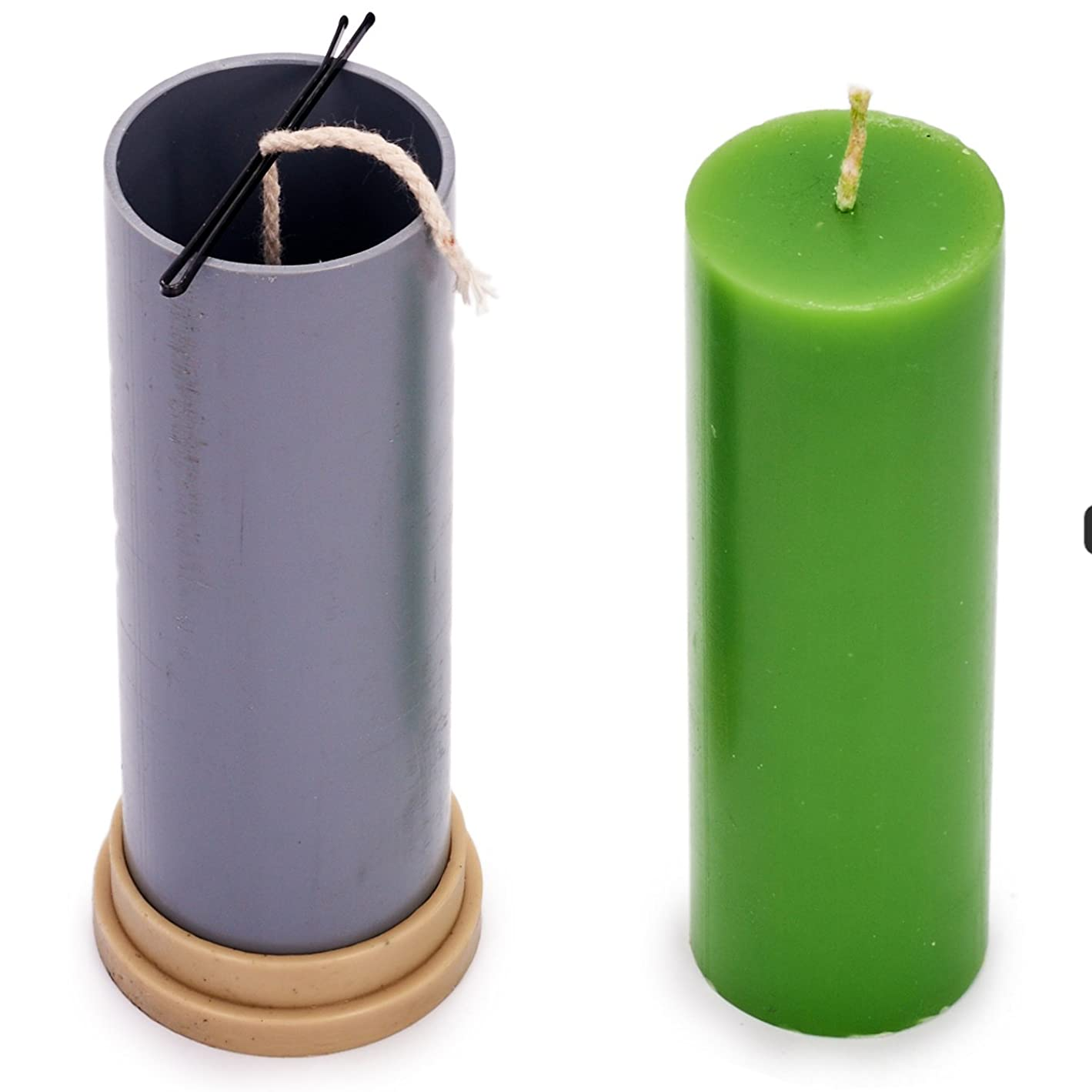Сylinder Mold - Height: 5.1 in, Width: 1.9 in - 30 ft. of Wick Included as a Gift - Plastic Candle molds for Making Candles p26629691167103