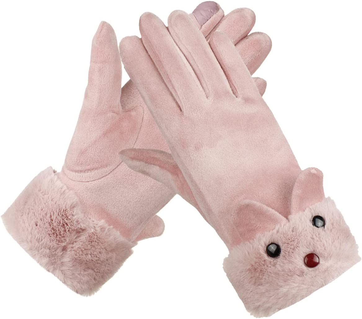 Lupovin-Keep Warm Winter Ardent Women Gloves Outside Sport Touch Screen Windproof Full-Finger Gloves Non-Slip (Color : Pink)