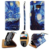 Wallet Case for Samsung Galaxy S7 Edge Case Wallet S 7 Edge Designer Case Wallet Cell Phone flip case for Samsung galaxy s7 edge Pu Leather Kickstand Card Slots Cover Phone Pouch Case Starry Night Art