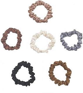 6 Pcs Silk Hair Scrunchies Soft & Comfortable Small Silk Scrunchy Skinny Hair Ties Bows Ropes Elastics Ponytail Holders fo...