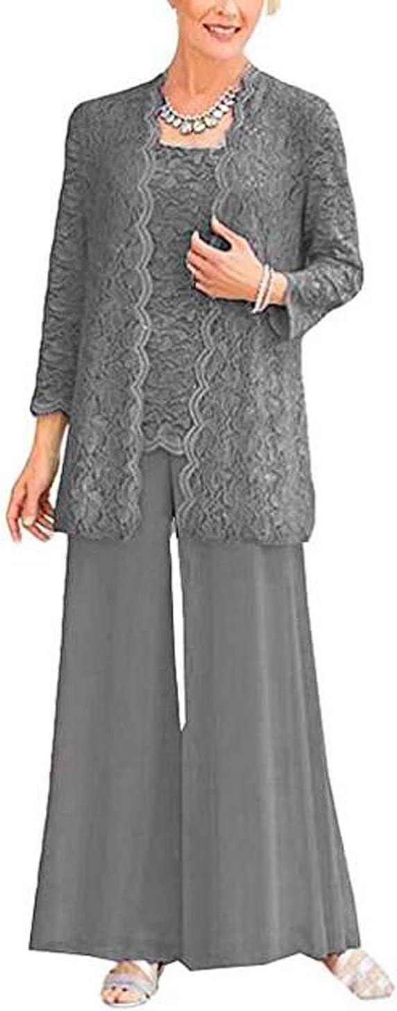 3 PC Lace Mother of The Bride Pants Suit with Long Jacket Women Outfits Guest Dress Pants Set