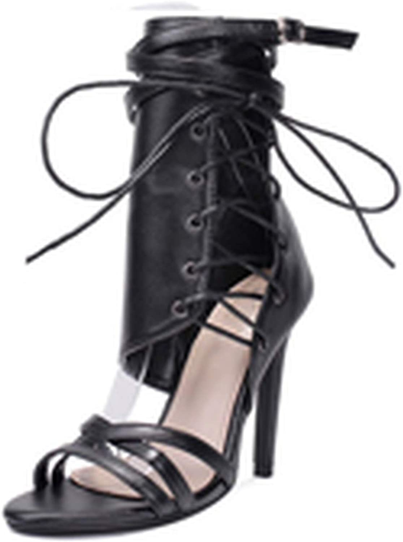 Gooding life Sexy Women Pumps High Heels Peep Toe Lace up Cross-tie High Heels Women 12cm Thin Heel Party shoes