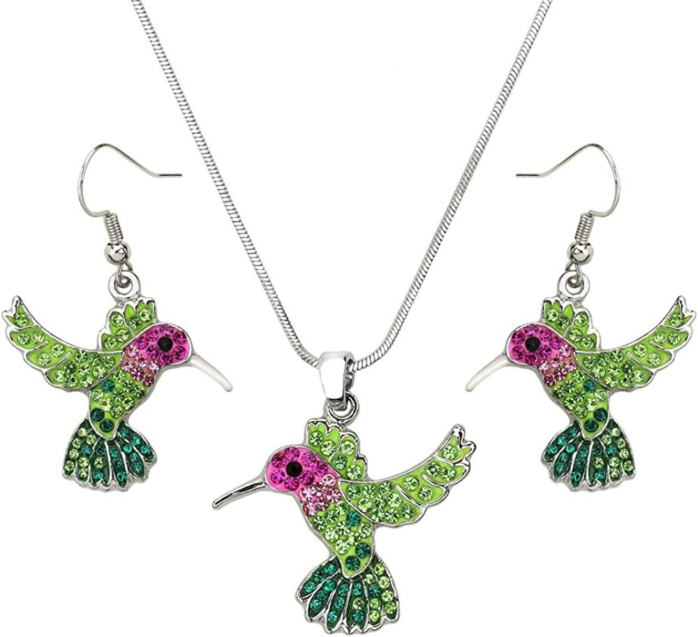Lola Bella Gifts Crystal Hummingbird Necklace and Earrings Set with Gift Box