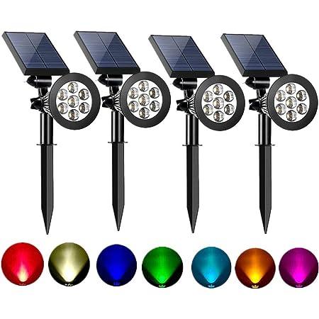 7 LEDs Solar Powered Lawn Light Spotlights Outdoor Waterproof Yard Lighting B9W8
