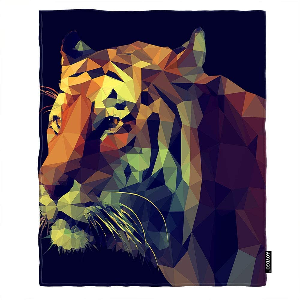 AOYEGO Low Poly Design Tiger Quantity limited low-pricing Geometric King Animal Blanket Throw
