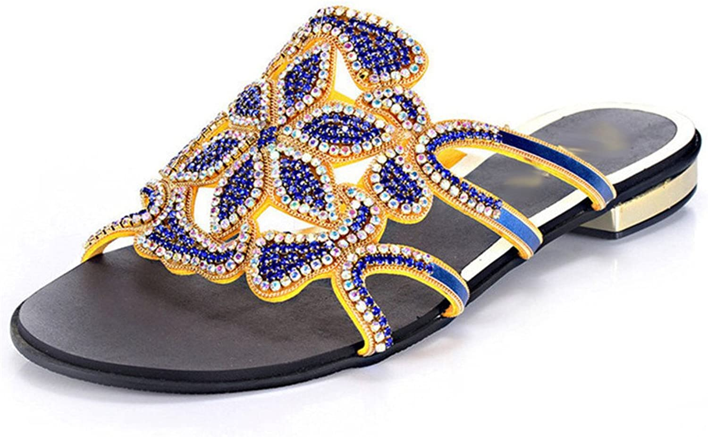 GTUFDRG Frauen Sommer Neue Flache Ferse Strass Blaumen Mode Hausschuhe Blau 9