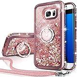 Silverback Galaxy S6 Active Case, Moving Liquid Holographic Sparkle Glitter Case with Kickstand, Bling Diamond Rhinestone Bumper Slim Case Samsung Galaxy S6 Active Case for Girls Women -Rose Gold