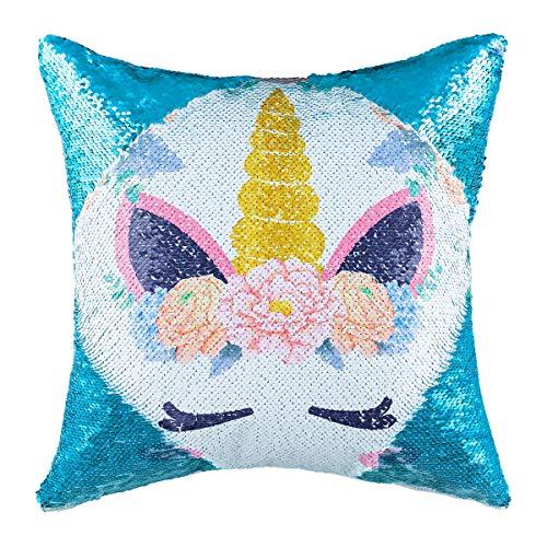 Paillettes Federa Mermaid Reversibile Sequin Pillow Case Cambia Colore per Bambini Girl Boy Glitter Cuscino per Divano casa Decorativo Divano Letto 40,6 x 40,6 cm