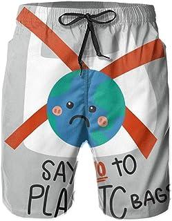 Say No To Plastic Bag Sad Earth 水着 メンズ おしゃれ サーフパンツ 海パン 人気 スイムパンツ ボーダー 短パン ビーチパンツ サーフトランクス ゴムウェスト 水陸両用 旅行 速乾 大きいサイズ 人気