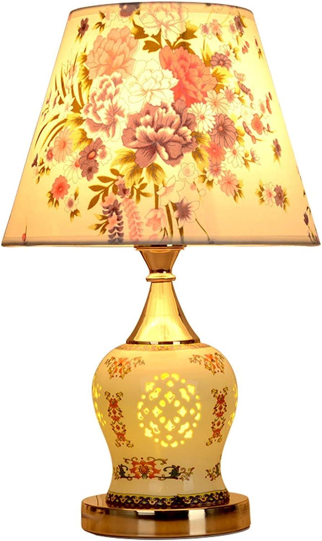 Tischleuchte aus Keramikgewebe, Schlafzimmer-Nachttischlampe, Wohnzimmer-Dimmer-Tischlampe