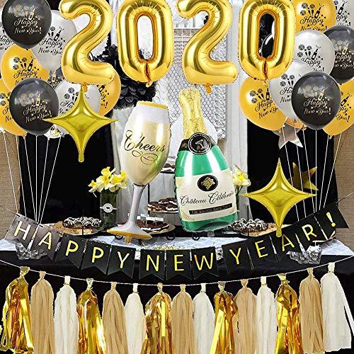 Kit De Globos De Año Nuevo-2020 Kit Decoraciones Suministros Fiesta Año Nuevo, Cerveza Champagne Foil Balloon Banner Tassel Black Silver Silver Latex Balloon, Regalo para La Decoración Casa Año Nuevo