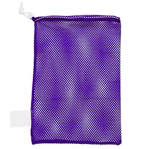 Champion Sports Mesh Sports Equipment Bag, Purple, 12x18 Inches - Multipurpose, Nylon Drawstring Bag with Lock and ID Tag for Balls, Beach, Laundry