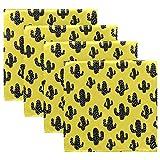 MNSRUU - Servilletas de tela amarilla de cactus, servilletas lavables, reutilizables, de poliéster, 50,5 x 50,5 cm, para el hogar, bodas, fiestas, vacaciones, juego de 4